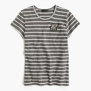 Striped painter T-shirt with embellished patch